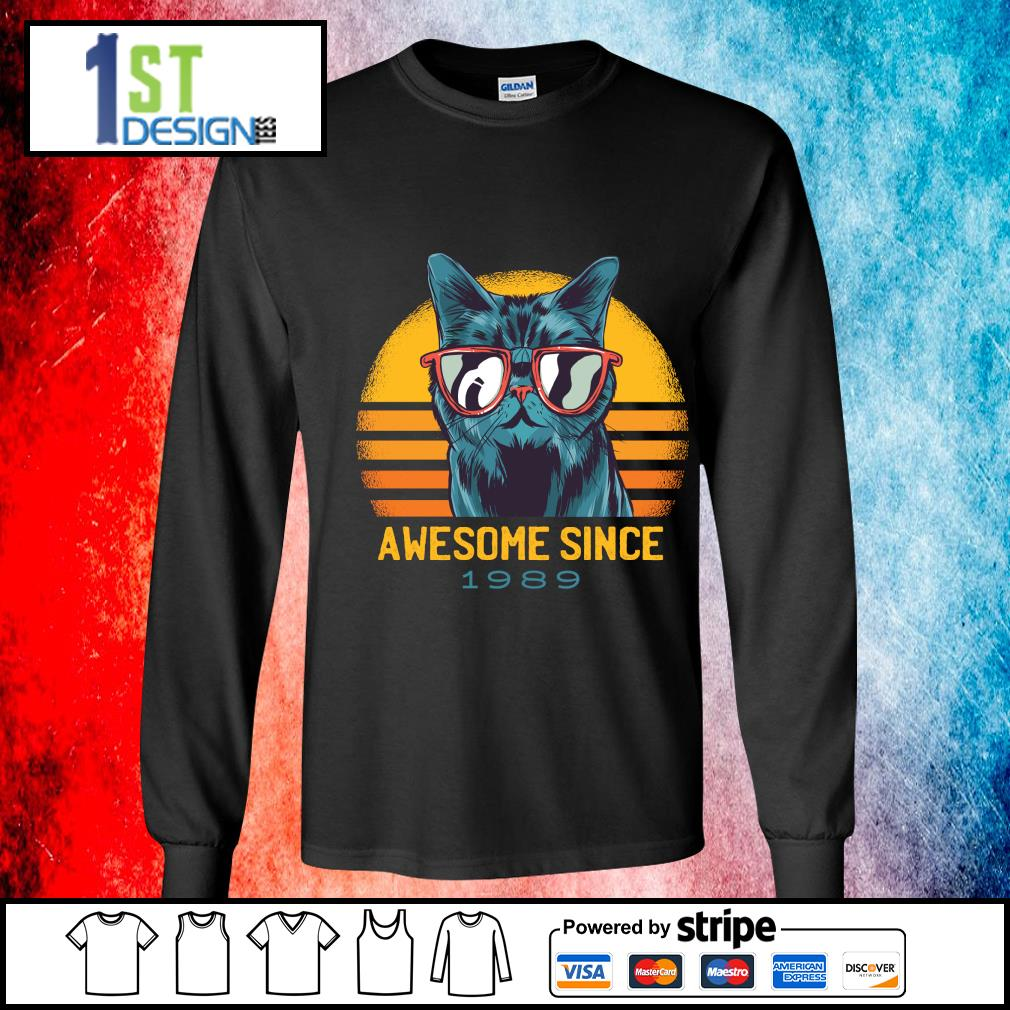 Cat awesome since 1989 vintage s longsleeve-tee